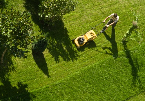 Overhead Shot of Man Performing Lawn Mowing Services for Washington IL